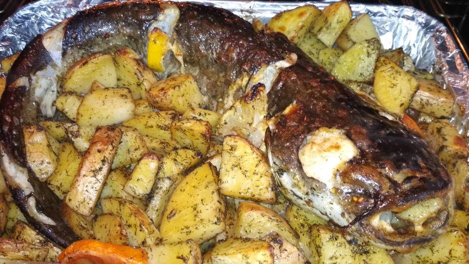 Сом запечённый в духовке в фольге с картошкой фото