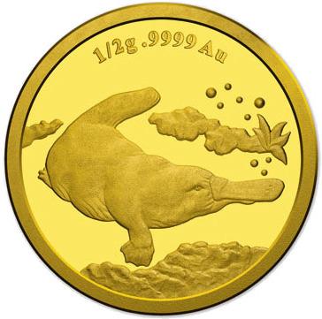 Утконос на золотой монете фото